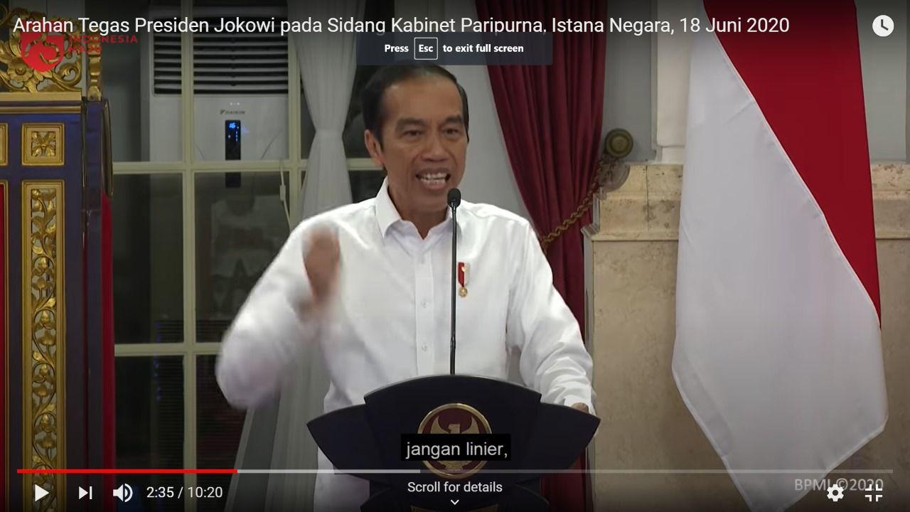Puncak gestur kemarahan Presiden Jokowi menurut kacamata pakar gestur Handoko Gani. (Tangkapan layar video kanal YouTube Setrpes RI)