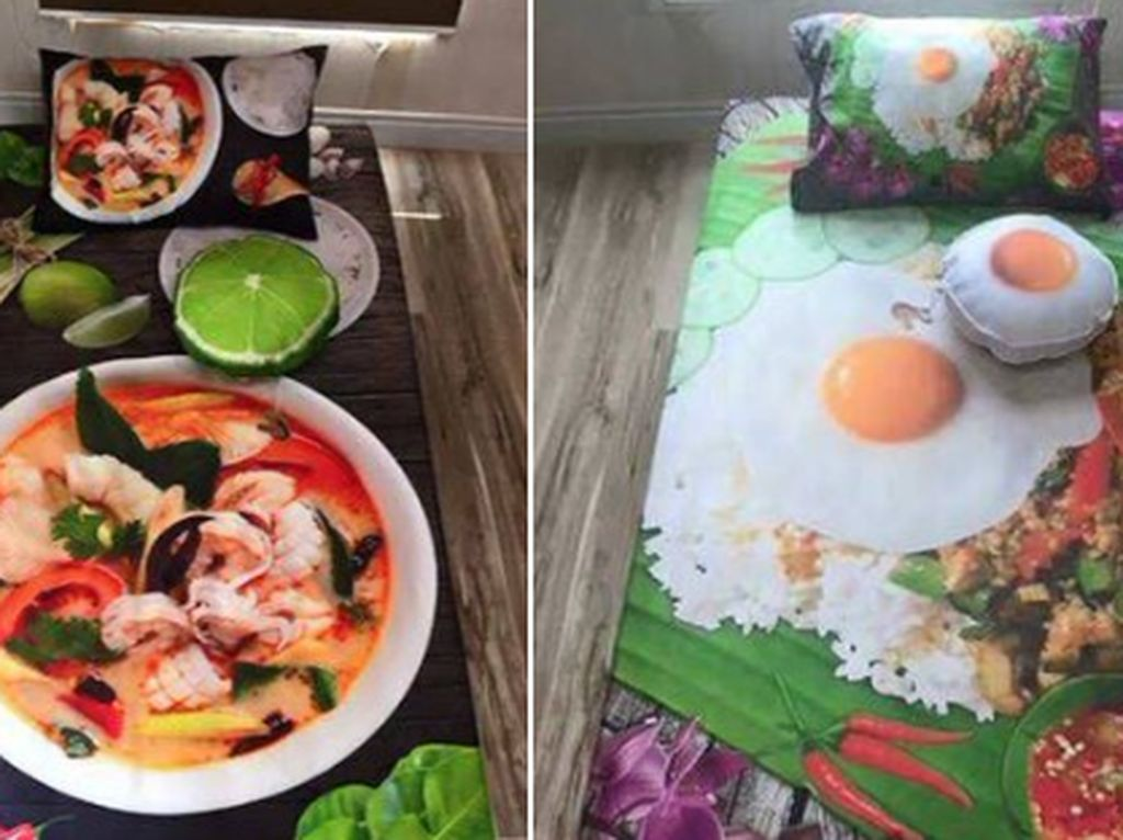 Yummy! Sprei Kasur Bergambar Sup dan Nasi Pincuk 3 D Ini Bikin Lapar