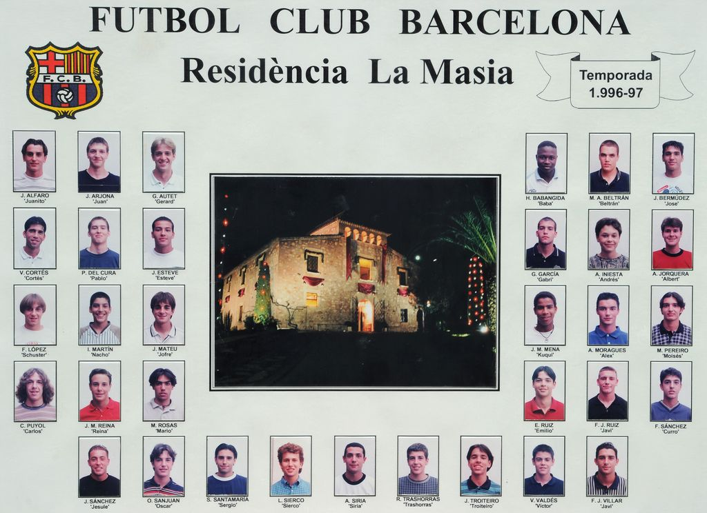 BARCELONA, SPAIN - APRIL 07:  A picture collage hanging inside La Masia shows Barcelona youth players from the 1996/1997 season with now star players Andres Iniesta (R) and Carles Puyol (L), on April 7, 2011 in Barcelona, Spain. La Masia is the heart of the Barcelona's youth system and a residence for young players that had to leave their home behind to train at FC Barcelona in both a sporting and intelectual way. Coach Josep Guardiola and players such as Lionel Messi, Carles Puyol and Andres Iniesta have lived at La Masia to become the stars of today's game. Because of the succes the name La Masia is now simply used to refer to the Barcelona youth players. (Photo by Jasper Juinen/Getty Images)
