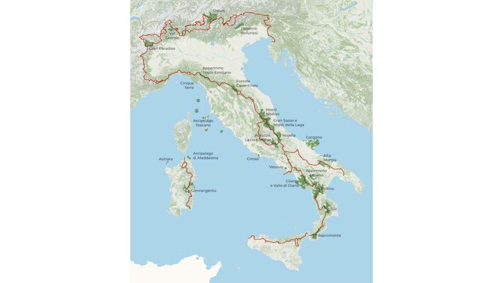 Peta jalur yang menghubungkan 25 taman nasional di italia
