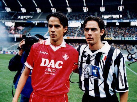 Simone Inzaghi (Piacenza) dan Filippo Inzaghi (Juventus) di musim 1998/99.