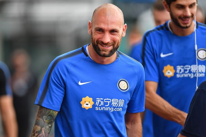 SINGAPORE - JULY 26: Tommaso Berni #46 of FC Inter Milan smiles during a training session of International Champions Cup training session at Bishan Stadium on July 26, 2017 in Singapore.  (Photo by Thananuwat Srirasant/Getty Images  for ICC)