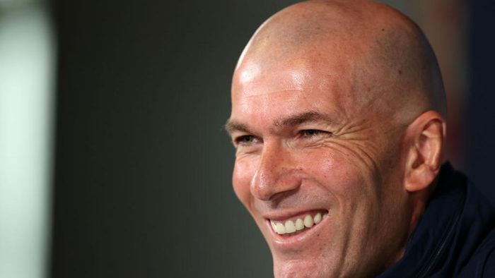 MADRID, SPAIN - FEBRUARY 25: Zinedine Zidane, Head Coach of Real Madrid reacts during a press conference ahead of their UEFA Champions League round of 16 first leg match against Manchester City at Valdebebas training ground on February 25, 2020 in Madrid, Spain. (Photo by Angel Martinez/Getty Images)