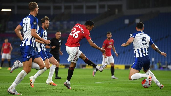 BRIGHTON, ENGLAND - JUNE 30: Mason Greenwood of Manchester United scores his sides first goal  during the Premier League match between Brighton & Hove Albion and Manchester United at American Express Community Stadium on June 30, 2020 in Brighton, United Kingdom. (Photo by Mike Hewitt/Getty Images)