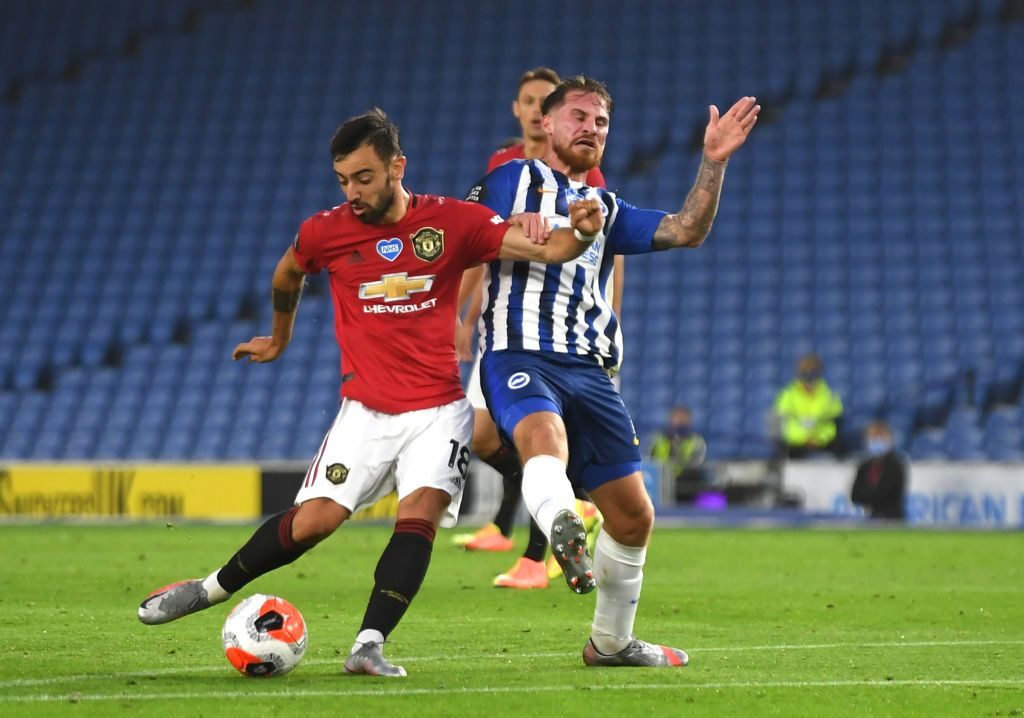 BRIGHTON, ENGLAND - JUNE 30: Bruno Fernandesof Manchester United scores his sides second goal during the Premier League match between Brighton & Hove Albion and Manchester United at American Express Community Stadium on June 30, 2020 in Brighton, United Kingdom. Football Stadiums around Europe remain empty due to the Coronavirus Pandemic as Government social distancing laws prohibit fans inside venues resulting in games being played behind closed doors. (Photo by Mike Hewitt/Getty Images)
