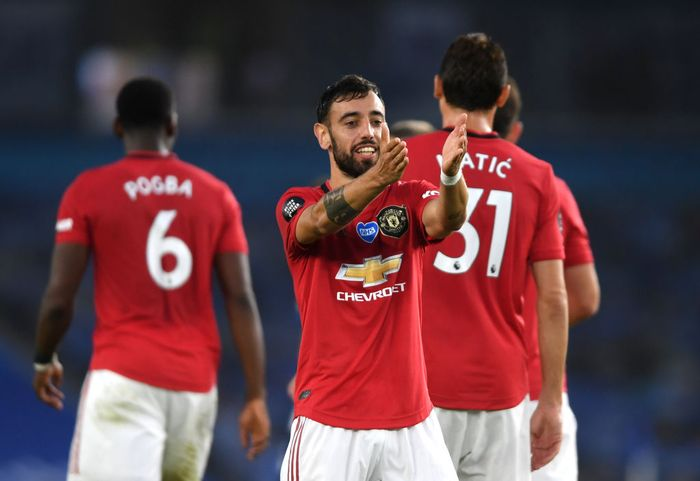 BRIGHTON, ENGLAND - JUNE 30: Bruno Fernandes of Manchester United scores his sides second goal during the Premier League match between Brighton & Hove Albion and Manchester United at American Express Community Stadium on June 30, 2020 in Brighton, United Kingdom. Football Stadiums around Europe remain empty due to the Coronavirus Pandemic as Government social distancing laws prohibit fans inside venues resulting in games being played behind closed doors. (Photo by Mike Hewitt/Getty Images)