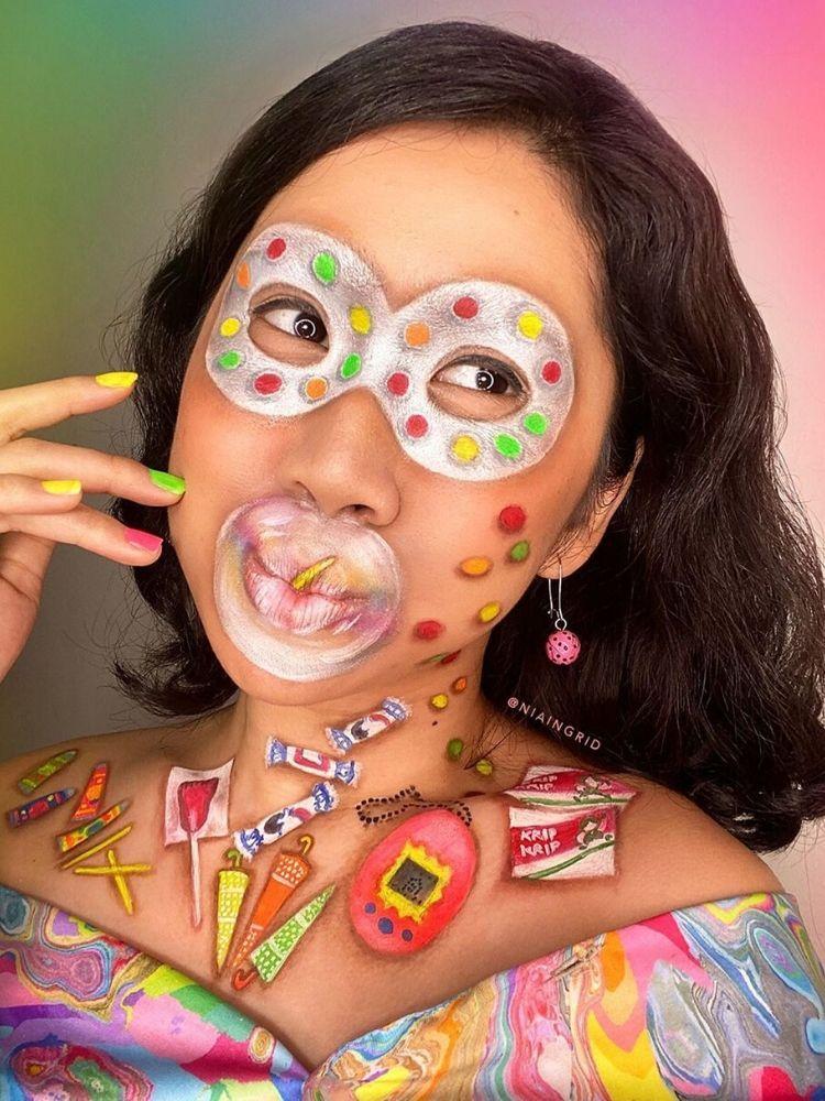 Face painting bergambar kuliner Indonesia