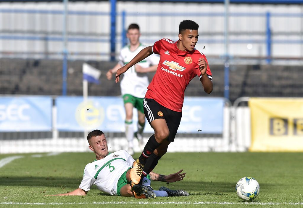 BRIGHTON, ENGLAND - JUNE 30: Mason Greenwood celebrates after scoring his sides first goal during the Premier League match between Brighton & Hove Albion and Manchester United at American Express Community Stadium on June 30, 2020 in Brighton, United Kingdom. (Photo by Mike Hewitt/Getty Images)