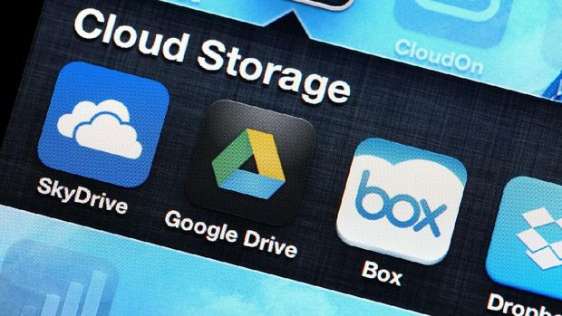 Hong Kong , Hong Kong, - May 1, 2013: Mobile apllcation of cloud storage for SkyDrive, Google Drive, Box, Dropbox