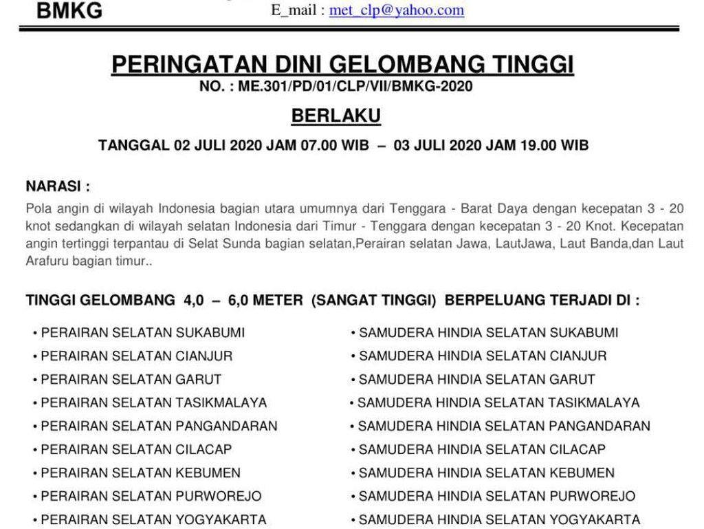 Waspada! Ada Potensi Gelombang Tinggi 4-6 Meter di Perairan Selatan Jawa