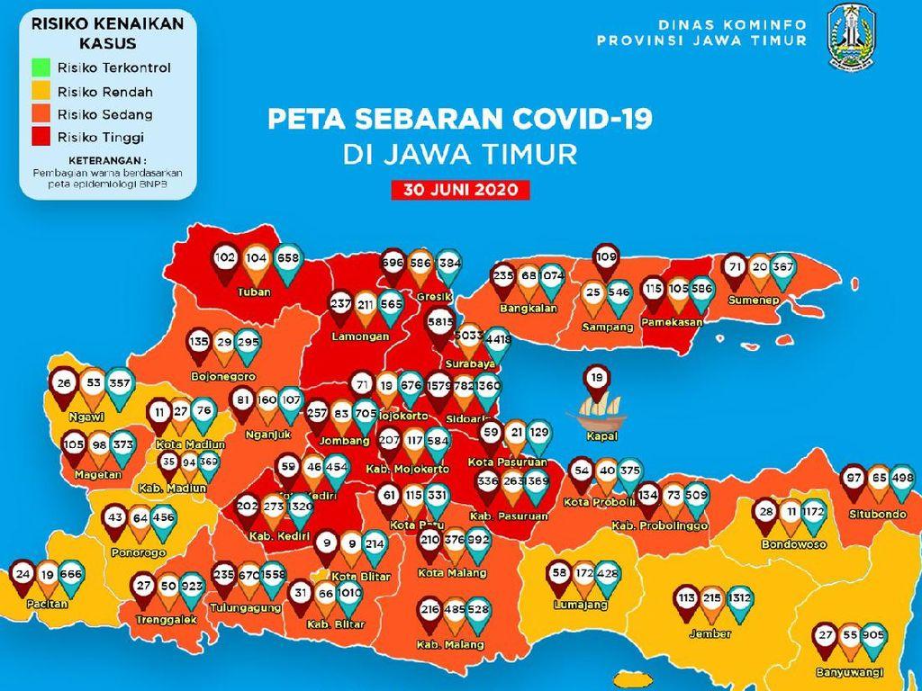 Masih 13 Daerah di Jatim yang Berstatus Zona Merah
