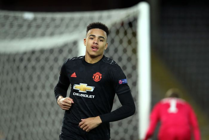 LINZ, AUSTRIA - MARCH 12: (FREE FOR EDITORIAL USE) In this handout image provided by UEFA, Mason Greenwood of Manchester United celebrates after scoring his teams fourth goal during the UEFA Europa League round of 16 first leg match between LASK and Manchester United at Linzer Stadion on March 12, 2020 in Linz, Austria. The match is played behind closed doors as a precaution against the spread of COVID-19 (Coronavirus).  (Photo by UEFA - Handout/UEFA via Getty Images )