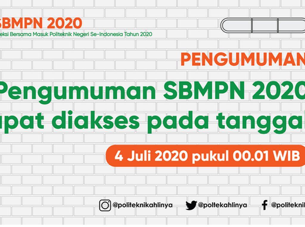 Pengumuman SBMPN 2020 4 Juli Pukul 00.01 WIB, Cek di sbmpn.politeknik.or.id