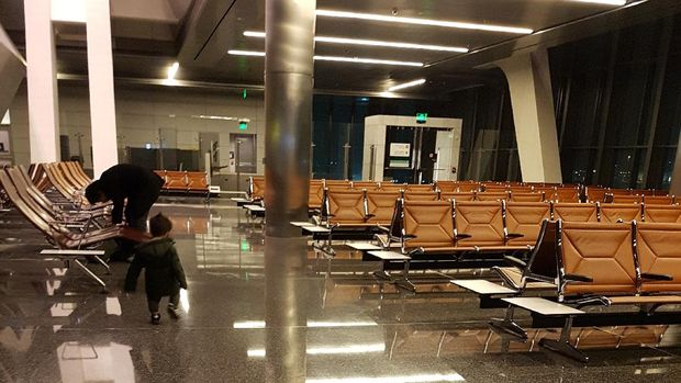 Suasana sepi di Bandara Internasional Qatar. (Dok. Firda Fadhilah)