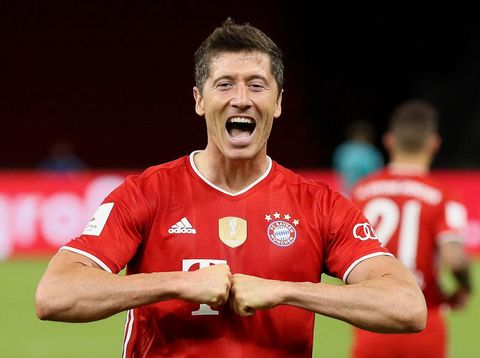 BERLIN, GERMANY - JULY 04: Robert Lewandowski of FC Bayern Muenchen celebrates after scoring his team's fourth goal during the DFB Cup final match between Bayer 04 Leverkusen and FC Bayern Muenchen at Olympiastadion on July 04, 2020 in Berlin, Germany. (Photo by Alexander Hassenstein/Getty Images)