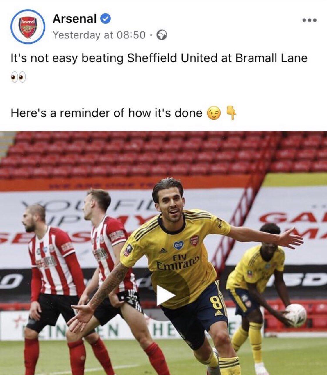 Unggahan Facebook Arsenal yang mengolok-olok kekalahan Tottenham Hotspur dari Sheffield United.
