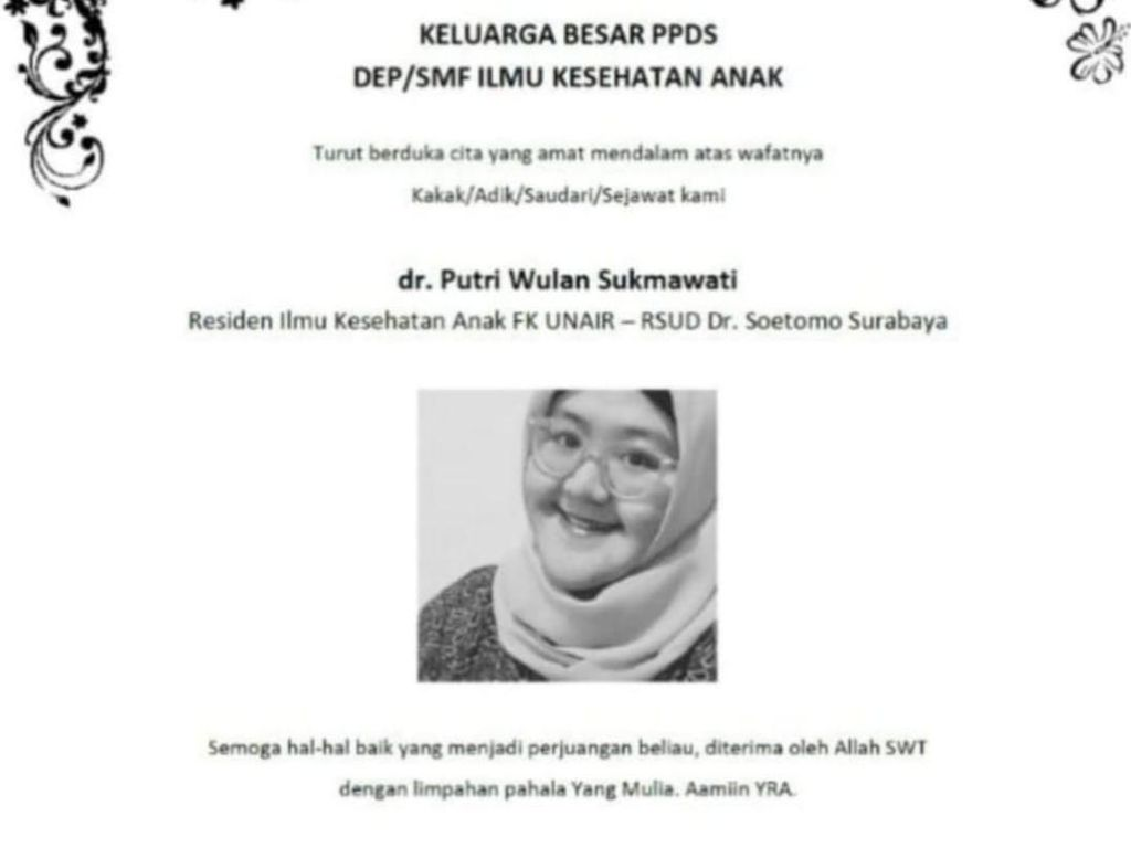 PPDS RSU Soetomo yang Gugur Keponakan Dokter RS Haji yang Juga Terpapar COVID