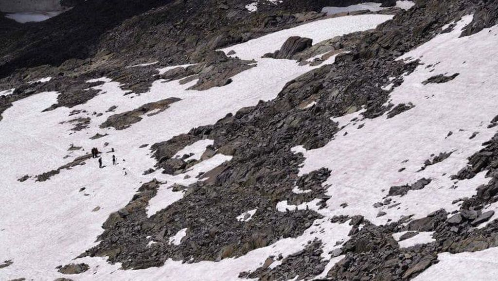 Potret Salju Berwarna Pink di Pegunungan Alpen