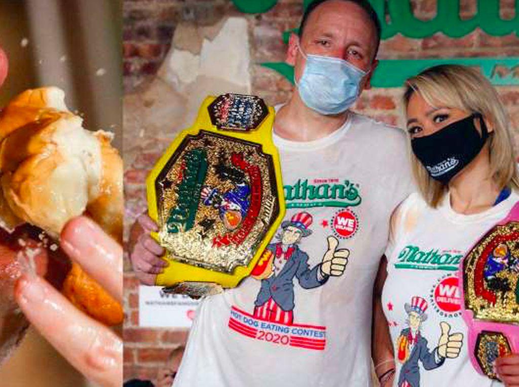Menang Lagi! Jawara Makan Ini Habiskan 75 Hot Dog dalam 10 Menit