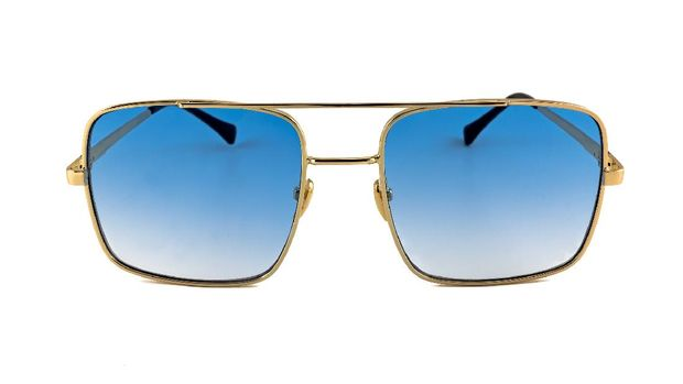 Blue pilot aviator, gold rimmed, gradient sunglasses isolated on white background, front view