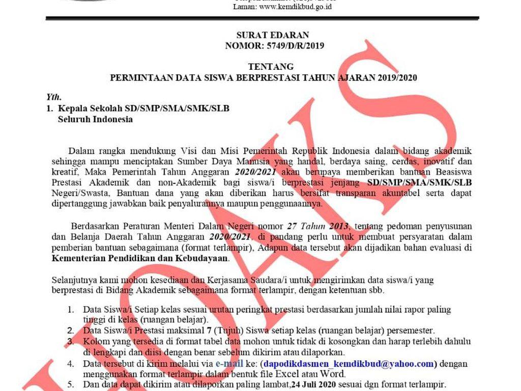Kemendikbud Pastikan Surat Permintaan Data Siswa Berprestasi Hoax