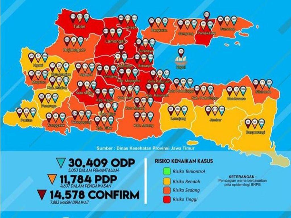 Kasus Positif COVID-19 di Jatim Capai 14.578, yang Sembuh 5.316 Pasien
