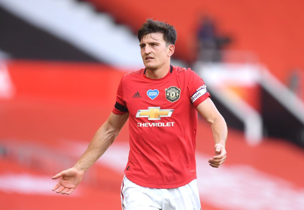 MANCHESTER, ENGLAND - JUNE 24: Harry Maguire of Manchester United reacts during the Premier League match between Manchester United and Sheffield United at Old Trafford on June 24, 2020 in Manchester, England. (Photo by Michael Regan/Getty Images)