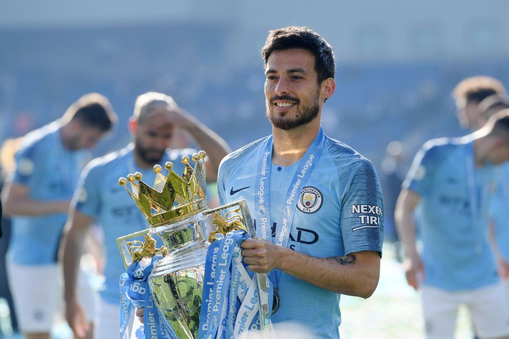 MANCHESTER, ENGLAND - SEPTEMBER 21: David Silva of Manchester City (21) celebrates as he scores his team's first goal during the Premier League match between Manchester City and Watford FC at Etihad Stadium on September 21, 2019 in Manchester, United Kingdom. (Photo by Alex Livesey/Getty Images)