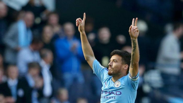 MANCHESTER, ENGLAND - SEPTEMBER 21: David Silva of Manchester City (21) celebrates as he scores his teams first goal during the Premier League match between Manchester City and Watford FC at Etihad Stadium on September 21, 2019 in Manchester, United Kingdom. (Photo by Alex Livesey/Getty Images)