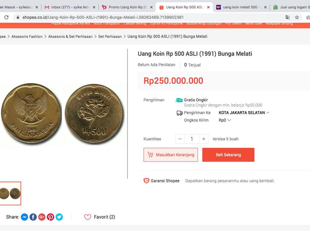 Ckckck Ada Lagi, Uang Koin Gopek Dijual Rp 250 Juta