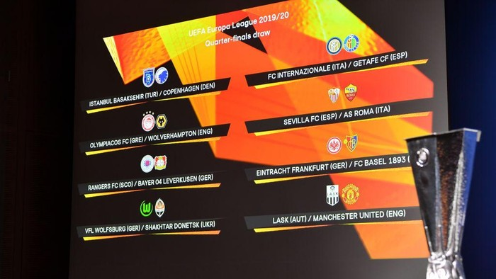 NYON, SWITZERLAND - JULY 10: In this handout image provided by UEFA, a general view prior to the UEFA Europa League 2019/20 Quarter-final, Semi-final and Final draw at the UEFA headquarters, The House of European Football on July 10, 2020 in Nyon, Switzerland. (Photo by UEFA via Getty Images)