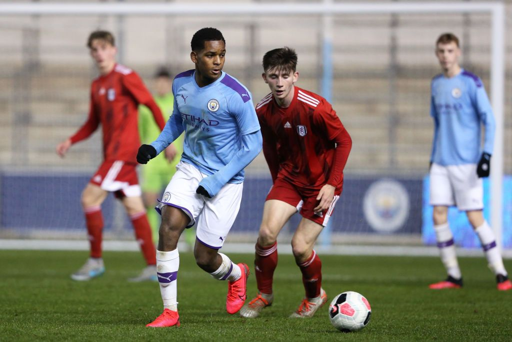 MANCHESTER, ENGLAND - AUGUST 11: Jayden Braaf of Manchester City during the Premier League 2 match between Manchester City and Southampton at The Academy Stadium on August 11, 2019 in Manchester, England. (Photo by Charlotte Tattersall/Getty Images)
