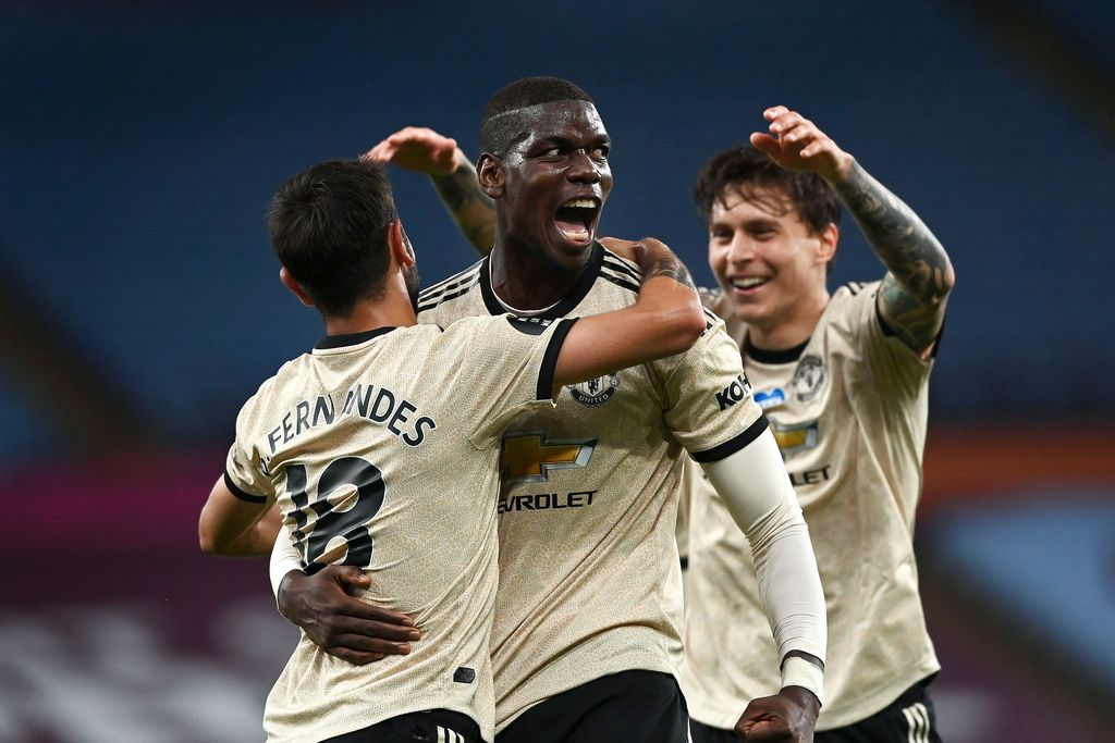 BIRMINGHAM, ENGLAND - JULY 09: Paul Pogba of Manchester United celebrates with Bruno Fernandes and Victor Lindelof after scoring his team's third goal during the Premier League match between Aston Villa and Manchester United at Villa Park on July 09, 2020 in Birmingham, England. Football Stadiums around Europe remain empty due to the Coronavirus Pandemic as Government social distancing laws prohibit fans inside venues resulting in all fixtures being played behind closed doors. (Photo by Shaun Botterill/Getty Images)