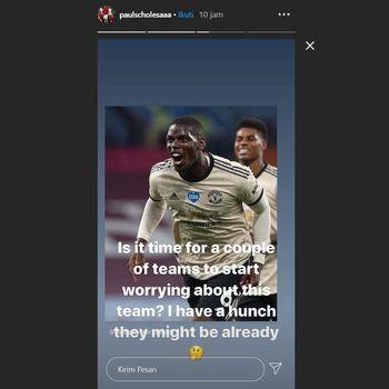 Tangkapan layar instastory Paul Scholes soal Paul Pogba