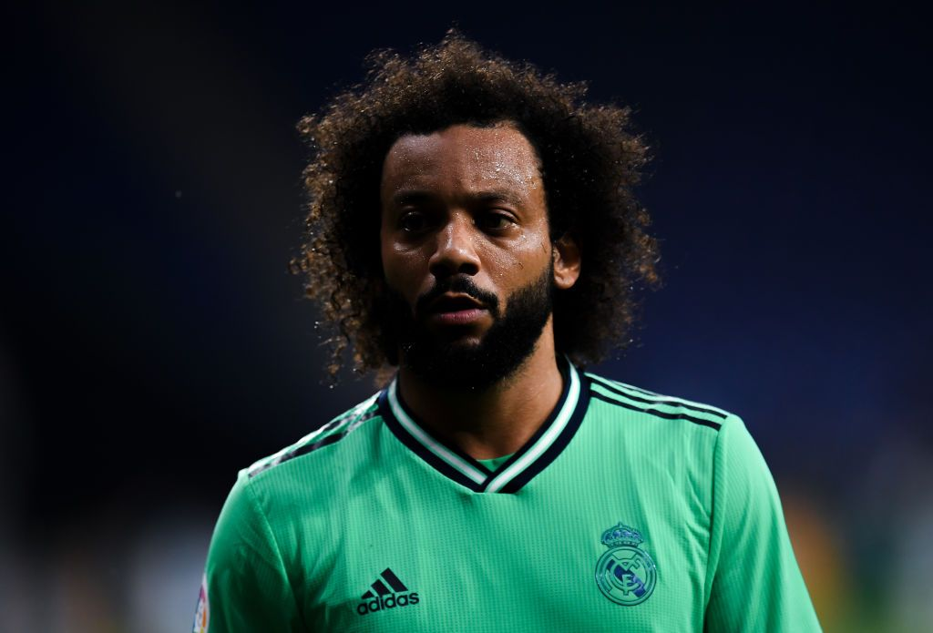 BARCELONA, SPAIN - JUNE 28: Marcelo Vieira of Real Madrid CF looks on during the Liga match between RCD Espanyol and Real Madrid CF at RCDE Stadium on June 28, 2020 in Barcelona, Spain. (Photo by David Ramos/Getty Images)