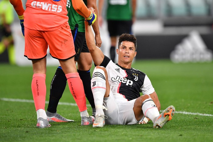 TURIN, ITALY - JULY 11:  Cristiano Ronaldo of Juventus looks on during the Serie A match between Juventus and  Atalanta BC at Allianz Stadium on July 11, 2020 in Turin, Italy.  (Photo by Valerio Pennicino/Getty Images)
