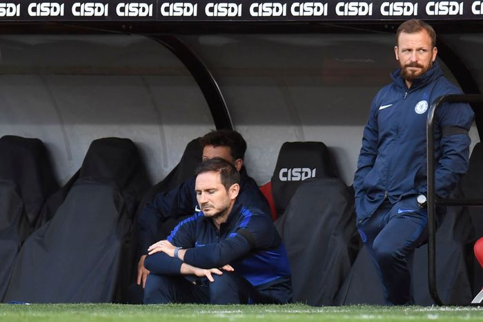 SHEFFIELD, ENGLAND - JULY 11: Frank Lampard, Manager of Chelsea and Jody Morris, Assistant Coach look on during the Premier League match between Sheffield United and Chelsea FC at Bramall Lane on July 11, 2020 in Sheffield, England. Football Stadiums around Europe remain empty due to the Coronavirus Pandemic as Government social distancing laws prohibit fans inside venues resulting in all fixtures being played behind closed doors. (Photo by Peter Powell/Pool via Getty Images)