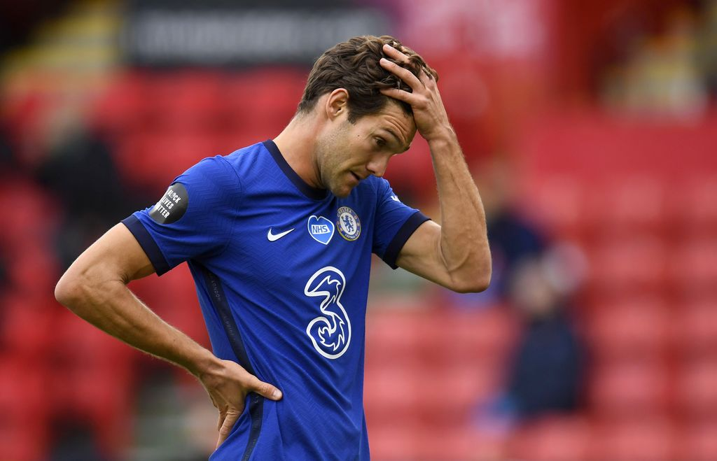 SHEFFIELD, ENGLAND - JULY 11: Marcos Alonso of Chelsea reacts during the Premier League match between Sheffield United and Chelsea FC at Bramall Lane on July 11, 2020 in Sheffield, England. Football Stadiums around Europe remain empty due to the Coronavirus Pandemic as Government social distancing laws prohibit fans inside venues resulting in all fixtures being played behind closed doors. (Photo by Peter Powell/Pool via Getty Images)