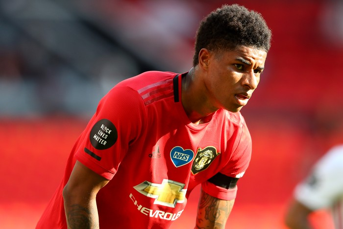MANCHESTER, ENGLAND - JUNE 24: Marcus Rashford of Manchester United during the Premier League match between Manchester United and Sheffield United at Old Trafford on June 24, 2020 in Manchester, England. (Photo by Michael Steele/Getty Images)