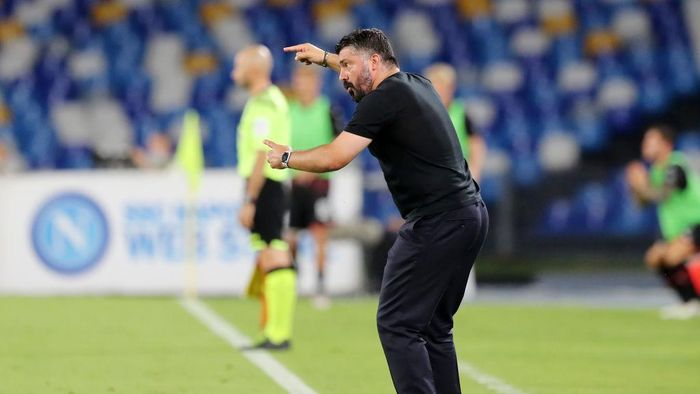 NAPLES, ITALY - JULY 12: Gennaro Gattuso SSC Napoli coach gestures during the Serie A match between SSC Napoli and  AC Milan at Stadio San Paolo on July 12, 2020 in Naples, Italy. (Photo by Francesco Pecoraro/Getty Images)