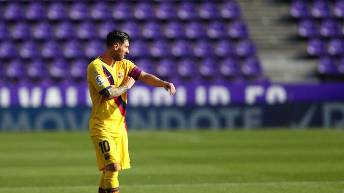 Barcelonas Lionel Messi during the Spanish La Liga soccer match between Valladolid and FC Barcelona at the Jose Zorrilla stadium in Valladolid, Spain, Saturday, July 11, 2020. (AP Photo/Manu Fernandez)