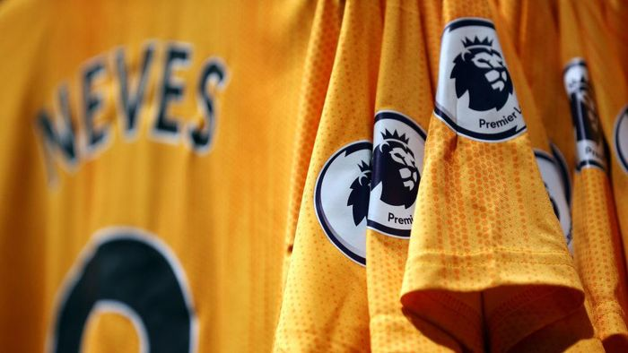 WOLVERHAMPTON, ENGLAND - FEBRUARY 14: The Premier League logo is pictured on shirts for sale ahead of the Premier League match between Wolverhampton Wanderers and Leicester City at Molineux on February 14, 2020 in Wolverhampton, United Kingdom. (Photo by Alex Pantling/Getty Images)