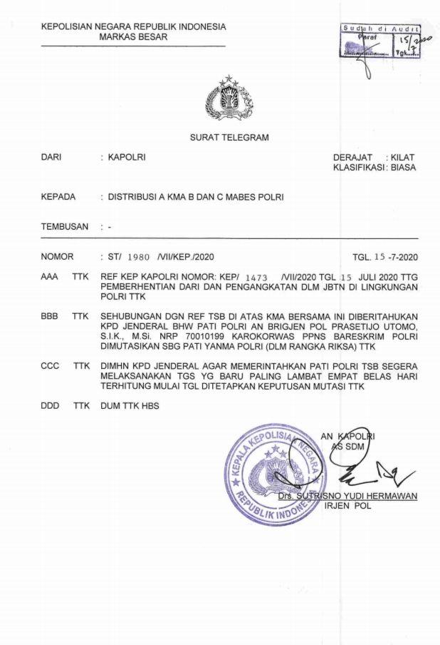 Surat telegram pencopotan Brigjen Prasetijo Utomo, pembuat surat jalan untuk buronan Djoko Tjandra
