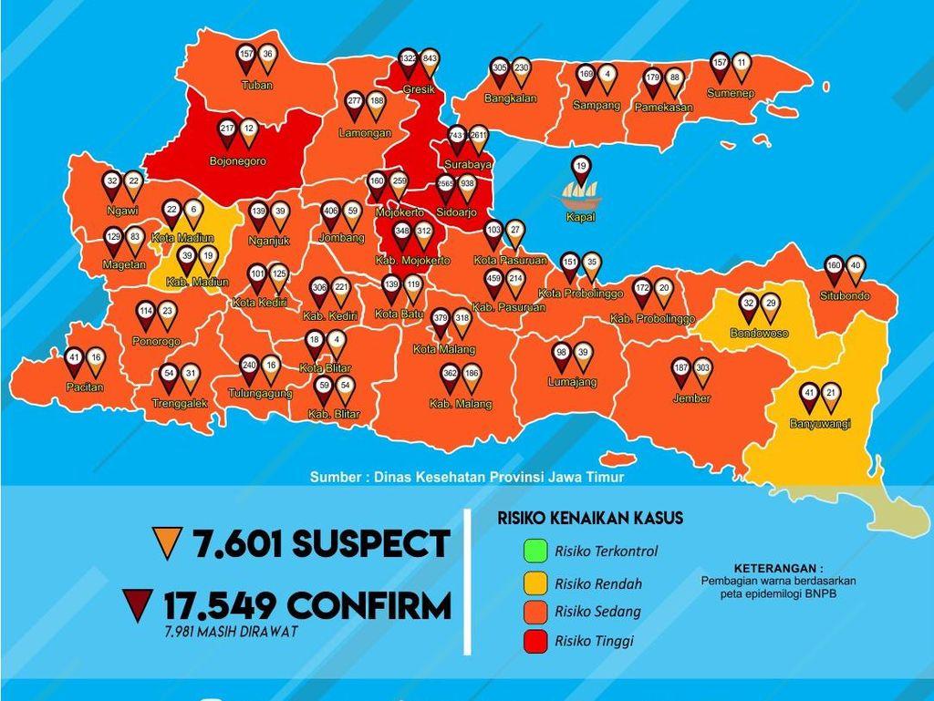 Kasus Positif COVID-19 di Jatim Saat Ini 17.549, yang Sembuh 8 Ribu Lebih