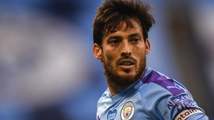 Manchester Citys David Silva during the English Premier League soccer match between Manchester City and Bournemouth at the Ethiad Stadium in Manchester, England, Wednesday, July 15, 2020. (Peter Powell/Pool via AP)