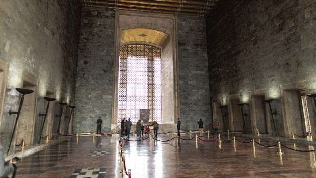 Tourists are visiting Mausoleum of M. Kemal Ataturk - the founder of the Republic of Turkey.
