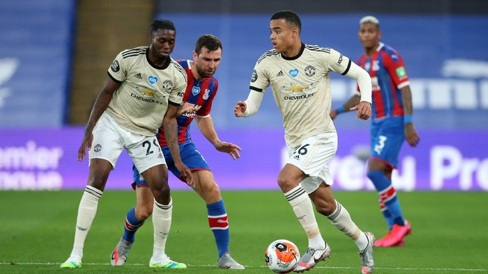 LONDON, ENGLAND - JULY 16: Mason Greenwood of Manchester United during the Premier League match between Crystal Palace and Manchester United at Selhurst Park on July 16, 2020 in London, England. Football Stadiums around Europe remain empty due to the Coronavirus Pandemic as Government social distancing laws prohibit fans inside venues resulting in all fixtures being played behind closed doors. (Photo by Peter Cziborra/Pool via Getty Images)