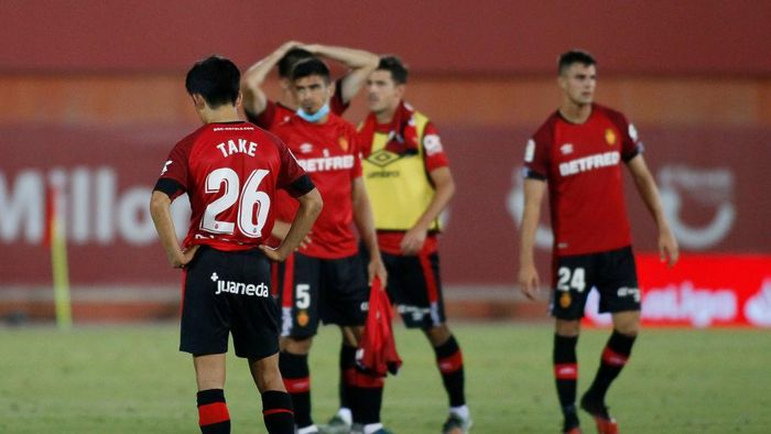 MALLORCA, SPAIN - JULY 16: Takefusa Kubo of RCD Mallorca laments league downgrade during the Liga match between RCD Mallorca and Granada CF at 	