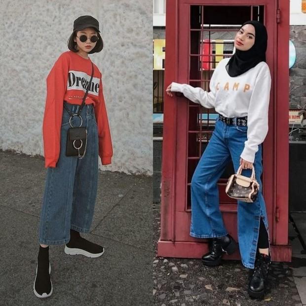 sweater dan celana jeans