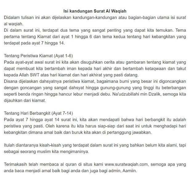 Isi kandungan surat Al-Waqiah yang harus diperhatikan.